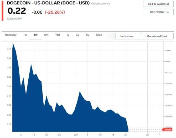 Grafik harga Dogecoin selama 1 bulan pada hari Senin, 21 Juni 2021. Turun sekitar 20% menjadi $0,22.