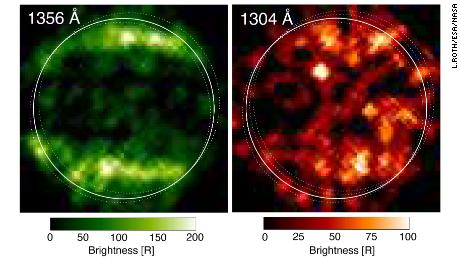 Pada tahun 1998, Hubble mengambil gambar ultraviolet pertama Ganymede ini.