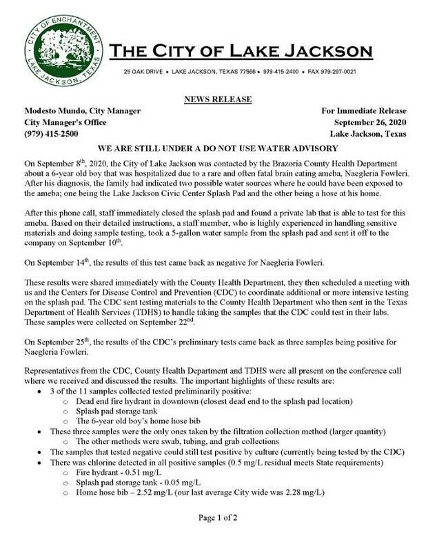 Siaran pers Lake Jackson September 2020 setelah kematian Josiah McIntyre yang berusia 6 tahun