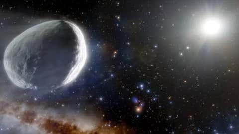 Gambar seorang seniman dari Komet Bernardinelli-Bernstein membajak tata surya.  (NOIRLab/NSF/AURA/J. da Silva (Mesin Luar Angkasa))
