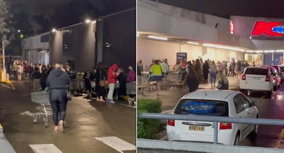 Pembeli Kmart berbaris di bawah gedung untuk sampai ke toko tengah malam.  Sumber: TikTok