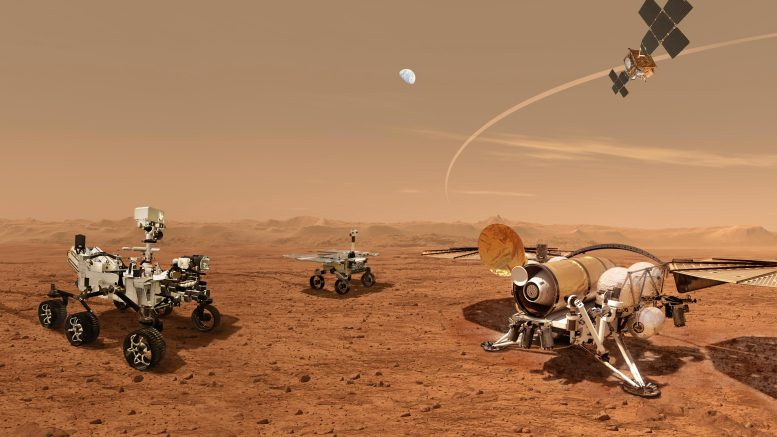 Konsep artis tentang kampanye untuk mengembalikan sampel Mars